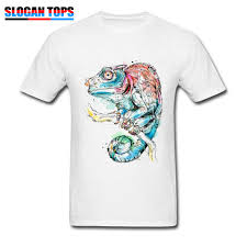 Cool Shirt Designs For Guys Us 12 72 40 Off Oversized Men T Shirt Chameleon Cool T Shirt Art Design Guys Clothes 100 Cotton Short Sleeve Tees Crazy White Shirts Wholesale In