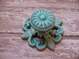 knobs and handles for furniture. Set Of 4 Turquoise And Cream Aged Farmhouse Vintage Style Cast Iron Architectural Pulls Knobs Handles For Drawers Or Cabinets Furniture A