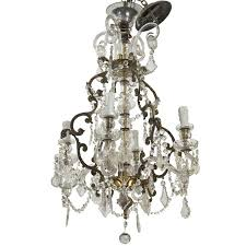 french four light crystal chandelier with glass arms for