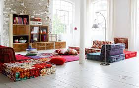 floor seating. Beautiful Seating Colorful Floor Seating Idea With Floral Pattern In Various Shape  Curved Lamp And Wooden In Floor Seating G