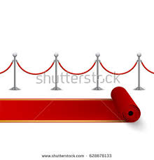 carpet time clipart. rolled red carpet and fence with metal stanchions, vector, isolated on white time clipart