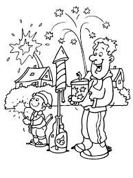 Small Picture Father and Son Play Fireworks in New Year Eve Coloring Page