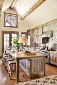One Wall Kitchen Designs Adorable Rustic Kitchen With Hardwood Floors Limestone Counters Onewall