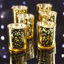 mercury glass votive tea light candle holder gold 2 5 inches 6 pack