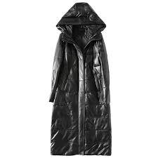 down jacket genuine leather jacket white duck down winter coat women korean parka hooded long black