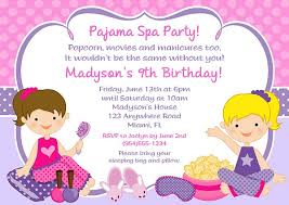 kids birthday party invitations pajama spa birthday party invitations glamour makeover spa kids birthday
