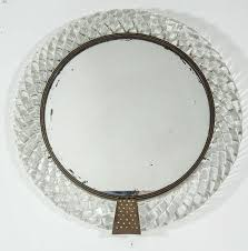 bronze wall mirror for an italian murano clear art glass treccia braid framed round