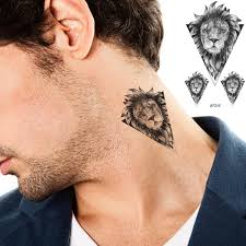 Vankirs Fake Black Lion Tiger Tattoo Stickers Body Arm Women Neck Men Tattoos Temporary Geometric Sketch Water Transfer Tatoos
