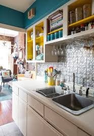 Kitchen Rack With Bright Open Shelves Color