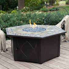 Outdoor Tile Table Top Furniture Make Your Patio More Lovely With Propane Fire Pit For