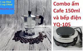 HCM]Combo bình pha cà phê bằng điện 150 ml là 3 tách Italia kèm bếp điện