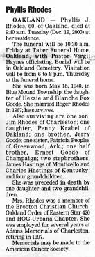 Phyllis Jane (Goode) Rhodes 2000 Obituary - Newspapers.com