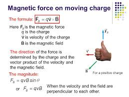 here is the magnetic force magnetic force on moving charge is the magnetic field the formula