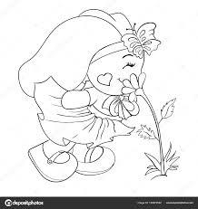 Leuke Kinder Illustratie Bunny Konijn Bloem Kunt Gebruiken