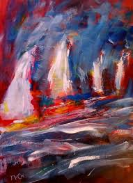 artfinder sailing away by kirstin mccoy original abstract painting with a boating theme art i like paintings