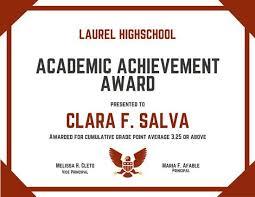 Academic Achievement Award Certificate Certificate Of