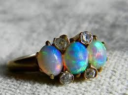 black opal ring antique opal diamond ring opal engagement ring australian blue opal ring 14k art deco ring october birthday gift
