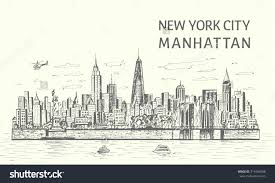 New York Skyline Drawing New York Skyline Drawing Easy New York ...