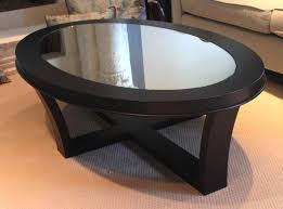 glass coffee table with wood base interior
