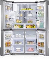 open refrigerator. a image of family hub full open with food. buttons for 3 main general features refrigerator r