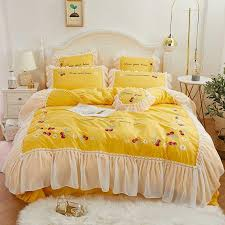 korean red cheery pink bedding set king