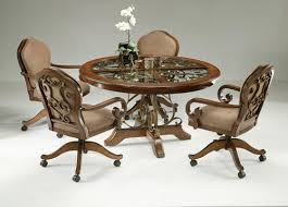 exciting kitchen table and chairs with casters caster dining room in on wheels decor 10