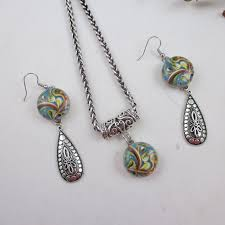 classic pendant necklace with earrings great for the office