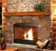 rustic mantel simple wood mantel enhances stone fireplace