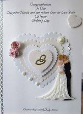 son wedding card ebay Handmade Wedding Cards For Daughter And Son In Law personalised handmade wedding day card grand son daughter brother sister niece Anniversary Son and Daughter in Law