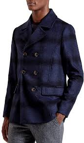 ted baker arion check wool blend pea coat
