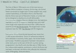 The 15 megaton thermonuclear device vaporized two islands and half of a third, leaving a crater which is 6000 feet in diameter and 240 feet deep. Castle Bravo Archives Dying Words