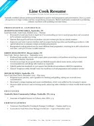 Chef Resume Sample From Sample Cook Resume Line Cook Cover Letter