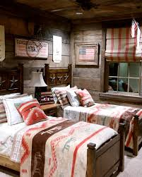 ralph lauren bedding for rustic kids with wood bed
