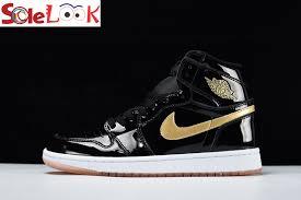 air jordan 1 retro high og black gold patent leather