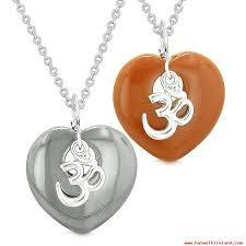 ancient tibetan om amulets love or best friends puffy hearts red jasper hematite necklaces 850176