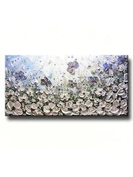 original art abstract painting white poppy flowers blue grey silver poppies textured large wall art on large blue flower wall art with original art abstract painting white poppy flowers blue grey silver