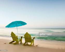 adirondack chairs on beach. Adirondack Chairs On Beach With Unbrella B