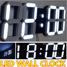 whole large modern digital led wall clock watches home decoration decor alarm countdown temperature luminova hollow out 3d white 8 wall clock 9 inch