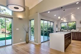 sloped ceilings midcentury kitchen