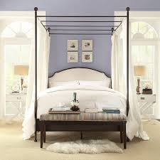 Amazon.com: Andover Cream White Curved Top Cherry Brown Metal Canopy Poster  Bed (King): Kitchen & Dining