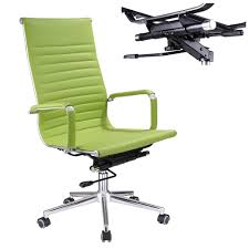 executive high back ribbed pu leather swivel office computer desk chair green xl 0