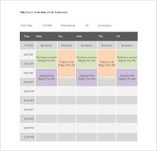 Free College Schedule Class Schedule Templates Template Business