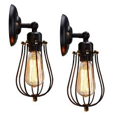 Edison Light Fixtures Canada Moaere Wire Cage Wall Sconce Led Dimmable Metal Industrial Wall Light Shade Vintage Style Edison Mini Antique Fixture