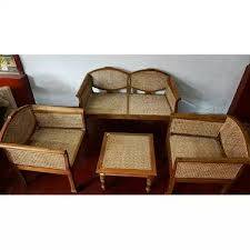 clic teak wood sofa set with cane weaving kerala india