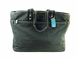 coach black hampton nylon twill leather tote satchel diaper bag 10697