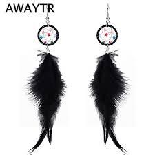 Dream Catcher Earing Unique AWAYTR Ethnic Retro Drop Black Feather Dream Catcher Earrings Female