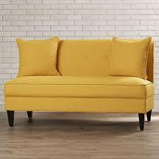 Image is loading Armless-Loveseat-Mustard-Yellow-Settee-Living-Room-Wood-