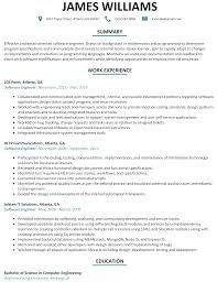 Software Engineer Resume Sample Profile Technical Summary Software