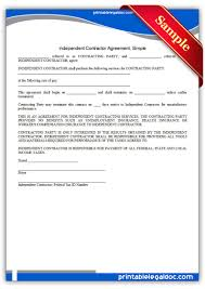 Simple Contractor Agreement Template Free Printable Independent Contractor Agreement Simple Form