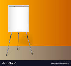 Flip Chart With A Blank Sheet Of Paper Near